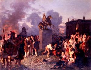 Nova iorquinos derrubando a estátua do rei da Inglaterra