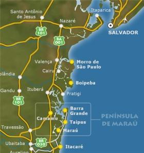 Mapa Península Maraú